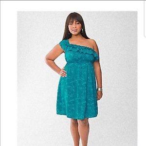 Lane Bryant blue ruffle dress. Plus size